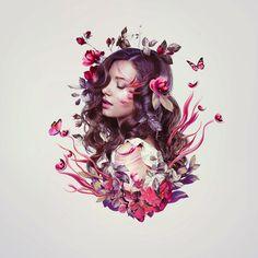 В этом уроке вы узнаете, как создать нежный портрет дополненный цветами, растительными элементами и бабочками.