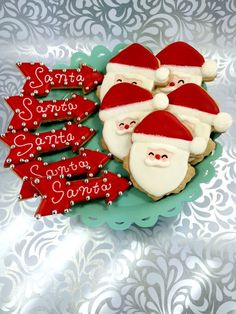 Retro Santa Claus and Santa Marquee  Arrow Sugar Cookies by PSSweet on Etsy