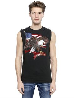 DSQUARED2 - ICON SLEEVELESS EAGLE COTTON T-SHIRT - LUISAVIAROMA - LUXURY SHOPPING WORLDWIDE SHIPPING - FLORENCE 2016 Winter, Luxury Shop, Dsquared2, Florence, Tank Man, Eagle, Cotton, Mens Tops, T Shirt