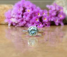 Moissanite Ring, Moissanite Engagement Ring, Fancy Blue Green Moissanite, solid 14kt, VIDEO