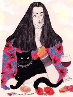 The fortune teller - Jeremy Combot Illustration Art And Illustration, Art Magique, Arte Pop, Art Plastique, Portrait Art, Portraits, Cat Art, Art Inspo, Fashion Art