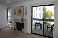 Sliding doors to the balcony in the living room & dining room