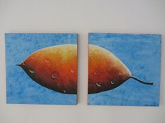 Orange Blue Nature Painting set of two 12X12 by Treelovergirl, $70.00