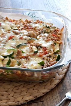 Make Ahead Cheesy Zucchini and Turkey Casserole. A healthy time saving dinner recipe for busy days
