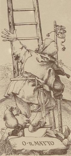 Tarocchi Dürer werden abgebildet von Lo Scarabeo. Symbols: City, Jacob's ladder…