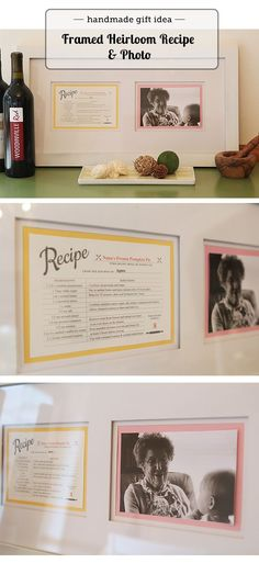 Must make for Christmas - framed photo of grandma with her trademark recipe - post has link for editable recipe card... I'm going to make one for each grandma in our family and hang them in a grouping on our dining room wall.