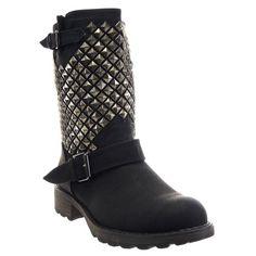 In Offerta! #Offerte Abbigliamento#Buoni Regalo   #Outlet Kickly - Scarpe da Moda Stivaletti - Stivali Scarponi al polpaccio donna borchiati quadrata piramide Tacco a blocco 3.5 CM - Nero disponibile su Kellie Shop. Scarpe, borse, accessori, intimo, gioielli e molto altro.. scopri migliaia di articoli firmati con prezzi da 15,00 a 299,00 euro! #kellieshop #borse #scarpe #saldi #abbigliamento #donna #regali