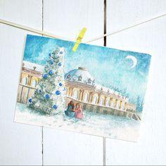 Postkarte - Weihnachtskarte Sanssouci