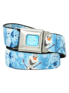 Buckle-Down brand seat belt belt with Frozen characters design and an authentic automotive style seat belt buckle.