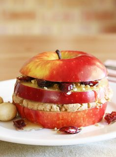 Triple Layered Apple Sandwich #healthy #snacks #recipes