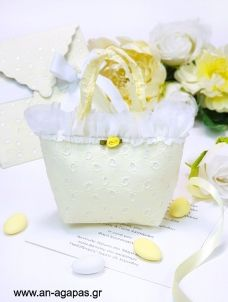Μπομπονιέρα Βάπτισης Τσαντάκι Κίτρινο Μπροντερί Feta, Cheese, Sachets