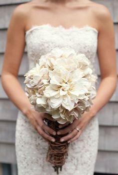 Vintage Rustic Wedding Bouquet, 2014 Rustic Wedding Ideas, Strapless Lace Wedding Dress #2014 #rustic #wedding