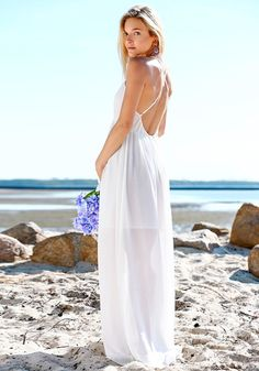 White Plunging Split Maxi - Criss Cross Detailing Straps at Back