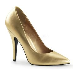 Pleaser Shoes Seduce-420 Gold Classic shoes in a shimmering hue of gold with pointed toe, V-shaped topline and dramatic foot arch supported by the front flat sole and the sexy 5 inch (12.5 cm) high stiletto heels with matching gol http://www.MightGet.com/january-2017-12/pleaser-shoes-seduce-420-gold.asp