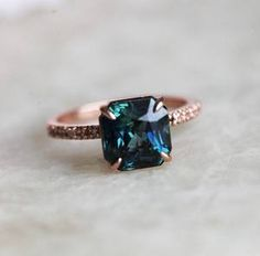Sapphire Ring Blue Sapphire Engagement Ring Green Sapphire Teal Sap Capucinne - March 09 2019 at Green Sapphire Engagement Ring, Blue Sapphire Rings, Blue Rings, Diamond Engagement Rings, Ceylon Sapphire, Diamond Rings, Sapphire Jewelry, Solitaire Diamond, Solitaire Engagement