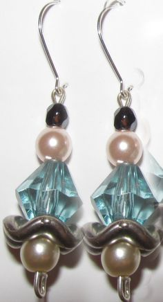 Black Crystal Pearls and Light Blue Crystal Earrings Crystal Earrings, Drop Earrings, Black Crystals, Light Blue, Pearls, Stuff To Buy, Jewelry, Design, Jewellery Making