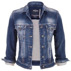 maurices Silver Jeans ® Dark Wash Denim Jacket ($88) ❤ liked on Polyvore featuring outerwear, jackets, coats, coats & jackets, tops, dark sandblast, jean jacket, blue denim jacket, button jacket e metallic jacket