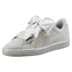 Suede Heart Satin Trainers (Grey) - Trainers - SHOP