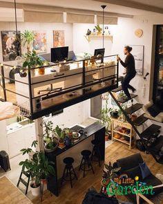 Dream House Loft Tiny Homes Tiny Living, Home And Living, Living Room, Dream Apartment, Loft Apartment Decorating, Loft Decorating, Studio Apartment Design, Flea Market Decorating, Apartment Goals