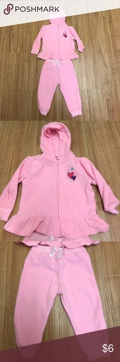 Girls 2 piece jogger outfit size 18 months GUC Garanimals pink jogging set. Lightweight fleece like material. Jacket is hooded and zip front; pants pull up with bow accent. Light stains around ankle bands of pants and a couple of faint spots on jacket. Good for chilly mornings or evenings. Garanimals Matching Sets