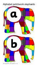 Alphabet on patchwork elephants