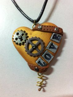 Steampunk Gold Polymer Clay and Metal Love Heart Pendant by Risagl, $45.00