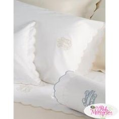 Monogram luxury bed linens and luxury sheets with a classic 3 line embroidered design from Matouk that may also be monogrammed. Grey Bedding, Linen Bedding, Bed Linens, Comforter Sets, King Comforter, Table Linens, Sheets Bedding, Bed Sheets Online, Punto De Cruz
