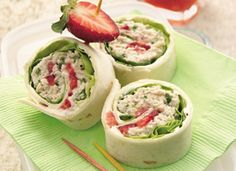 Chicken Salad Roll-Ups | chicken, green onions, walnuts, poppy seed dressing, cream cheese spread, lettuce and strawberries in a flour tortilla