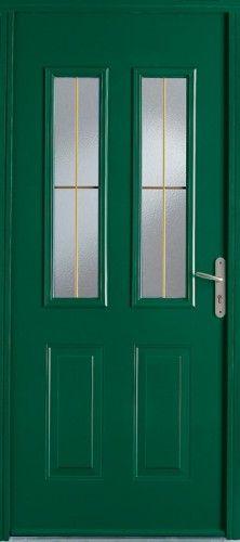Porte acier, Porte entree, Bel'm, Classique, Poignee rosace couleur argent, Mi-vitree, Double vitrage givre + aspect petit bois laiton, Murphy 68+, Epaisseur 68mm