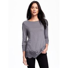 Old Navy Womens Relaxed Lace Trim Top (32 CAD) ❤ liked on Polyvore featuring tops, dorian grey, long sleeve jersey top, lace trim top, old navy tops, jersey top and long sleeve jersey