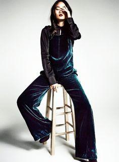 black button-down shirt and blue velvet jumpsuit #style #fashion