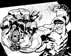 Well here is my bread and butter, my inks over Ed McGuinness. This is from a backup story in Wolverine Hulk-Woverine Spread. Comic Book Artists, Comic Book Characters, Comic Artist, Comic Books Art, Drawing Superheroes, Marvel Drawings, Dylan Dog, Incredible Hulk, American Comics