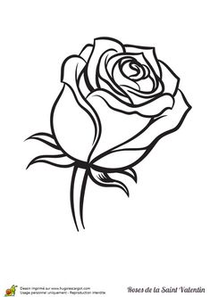 Une rose adorable à colorier pour la Saint Valentin Art Sketches, Art Drawings, Rose Drawings, Coloring Books, Coloring Pages, Rose Outline, Rose Stencil, Valentines Day Coloring Page, Tattoo Outline