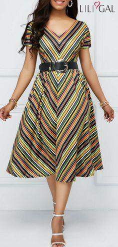Zipper Back Short Sleeve Stripe Print Dress #liligal #dresses #womenswear #womensfashion