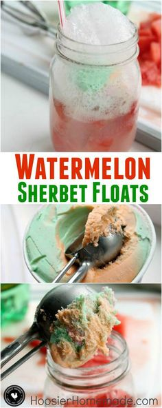 Cool and refreshing! With just 3 ingredients you can make these Watermelon Sherbet Floats! Click on the Photo for the Recipe!