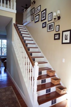 white stairs and linen walls make a great statement along with the strike of black chalkboard paint