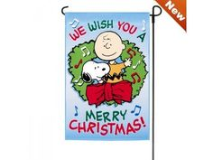 PEANUTS SNOOPY AND CHARLIE BROWN FLAGWE WISH YOU A MERRY CHRISTMAS 12 x 18 @ niftywarehouse.com #NiftyWarehouse #Peanuts #CharlieBrown #Comics #Gifts #Products