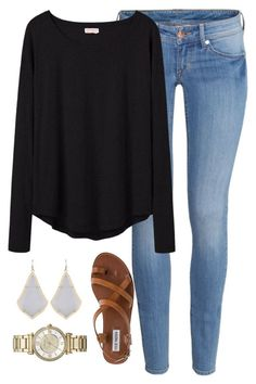 """dinner with fam"" by whitegirlsets ❤ liked on Polyvore featuring H&M, Organic by John Patrick, Steve Madden, Michael Kors and Kendra Scott"