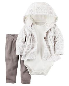 Crafted in plush fleece with a cozy hood and peplum hem, this printed cardigan set is complete with a soft cotton bodysuit and pants.