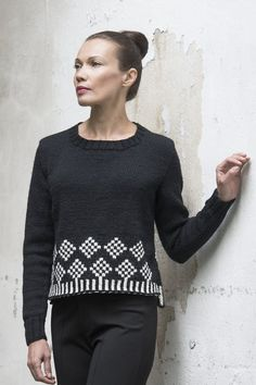 This women's pullover worked in Novita 7 Veljestä Brothers) yarn features a pretty fair isle pattern on the hem. The back of the pullover is knitted slightly longer than the front. Knitting Socks, Free Knitting, Knitting Designs, Knitting Patterns, Sweater Patterns, Fair Isles, Fair Isle Pattern, Knit Dress, Knitwear