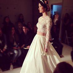 A crop top wedding dress from Reem Acra at New York Bridal Fashion Week #nybfw