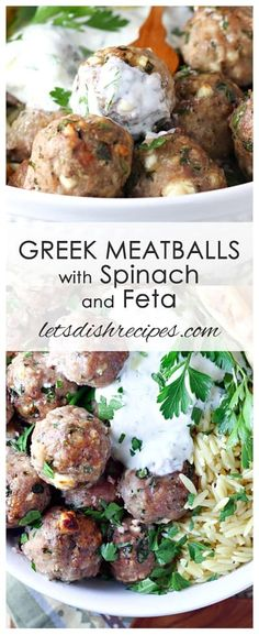 Greek Turkey Meatballs with Spinach and Feta | Let's Dish Recipes