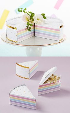 Kate Aspen Colorful Cake Slice-Shaped Favor Boxes (Set of 12) | Personalized Gifts and Party Favors