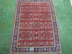 Blue, Burgundy 12x18 Hand Knotted  Traditional Rug