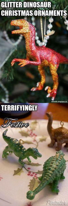dinosaur glitter ornaments