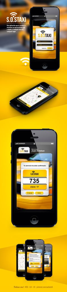 S.O.S Taxi App *** App design to take a taxi with my smartphone. by Juan Esteban Santa, via Behance *** #iphone #app #taxi