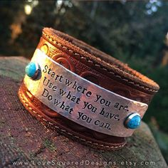 Tooled leather cuff bracelet turquoise, I found this really awesome Etsy listing at https://www.etsy.com/listing/198269119/tooled-leather-cuff-bracelet-start-where