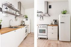 smeg fridge and white kitchen ... nice countertops and floors