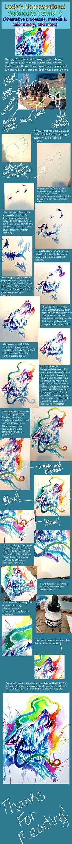 Rainbow Wolf Watercolor Tutorial by Lucky978.deviantart.com on @deviantART