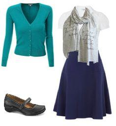 Business Casual Starter Kit Day 14: Aqua cardigan, white blouse, navy skirt, grey print scarf, black shoes.